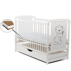 BabyNeeds - Patut din lemn Timmi 120x60 cm, cu sertar, Alb + Saltea 8 cm
