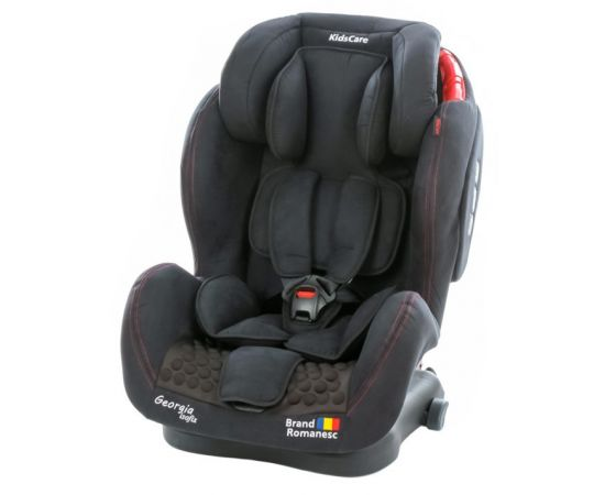 Scaun auto Georgia cu Isofix si Top Tether Negru Kidscare, Culoare: Negru, Grupa: 9-36kg (9 luni - 12 ani)