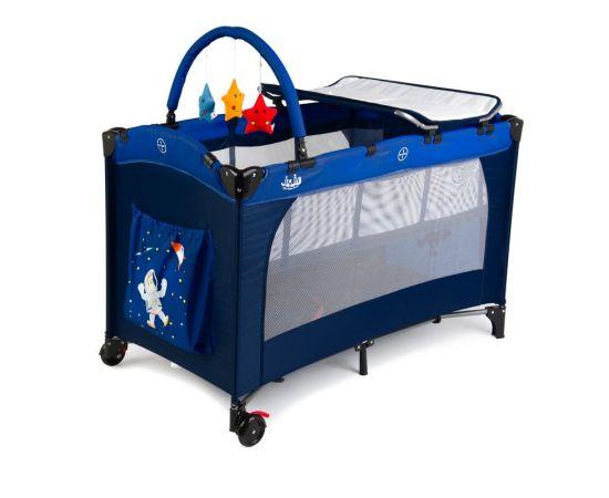 Patut pliant 2 niveluri Juju Sleepy Baby, Space Adventure, Culoare: Albastru,poza 4