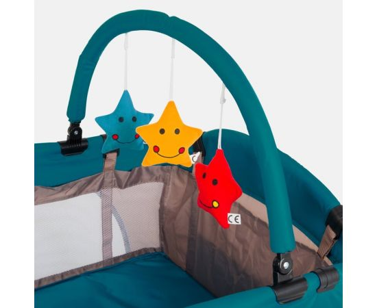 Patut pliant 2 niveluri Juju Sleepy Baby, Space Doggy, Culoare: Verde,poza 5