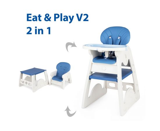 Scaun de masa transformabil Juju Eat&Play V2, Albastru, Culoare: Albastru,poza 2