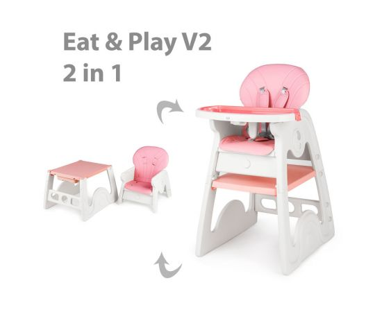 Scaun de masa transformabil Juju Eat&Play V2, Roz, Culoare: Roz,poza 2