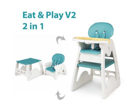 Scaun de masa transformabil Juju Eat&Play V2, Turcoaz, Culoare: Turquoise,poza 2